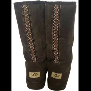 UGG Ultimate Tall Braid Boots Chocolate Brown